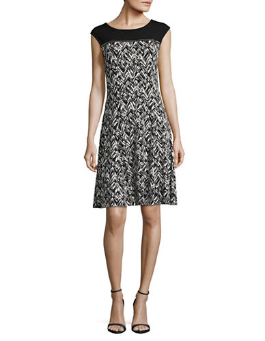 Calvin Klein Zipper Yoke A-Line Dress-GREY/WHITE-Small
