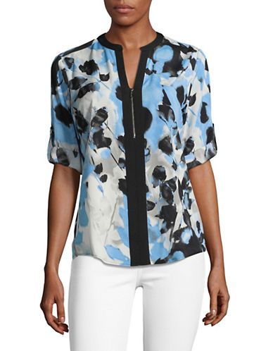 Calvin Klein Printed Roll-Sleeve Blouse-BLUE COMBO-X-Large
