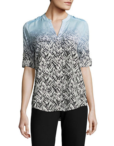 Calvin Klein Printed Roll-Sleeve Shirt-BLUE MULTI-Large