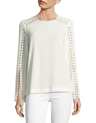 Calvin Klein Studded Slit-Sleeve Blouse-WHITE-Medium