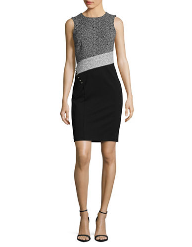 Calvin Klein Panelled Sheath Dress-GREY/BLACK-10