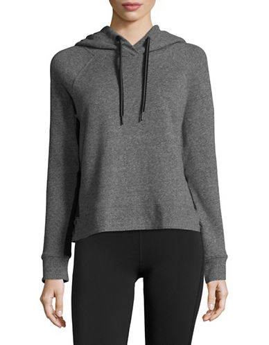 Calvin Klein Performance Logo Hoodie with Grosgrain Trim-BLACK HEATHER-Medium