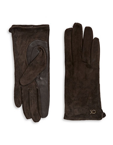 Calvin Klein Suede and Leather Gloves-CHOCOLATE-Small