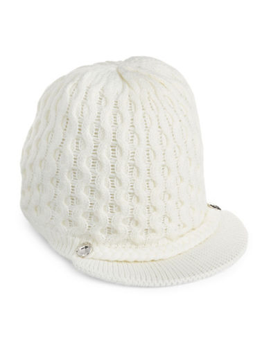 Calvin Klein Honeycomb Cable-Knit Visor Beanie-CREAM-One Size