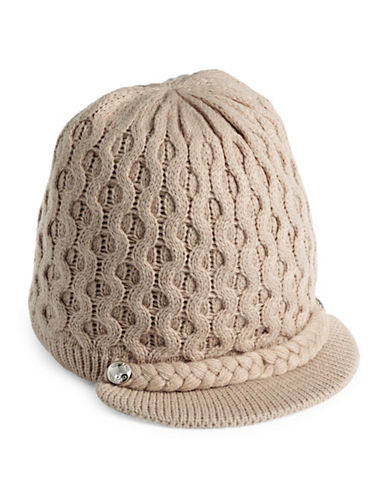 Calvin Klein Honeycomb Cable-Knit Visor Beanie-ALMOND-One Size