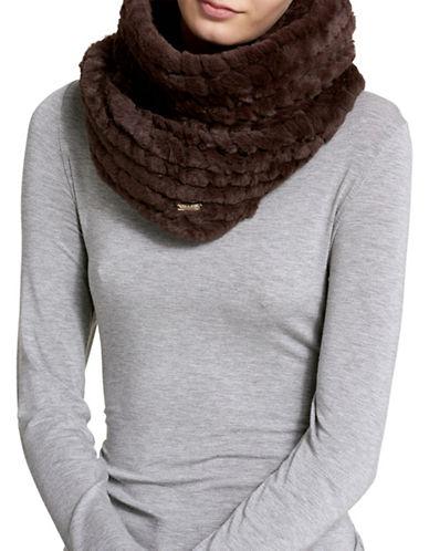 Calvin Klein Faux Fur Knit Infinity Scarf-BROWN-One Size