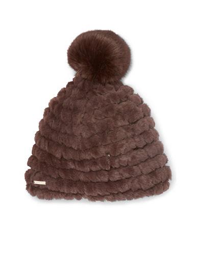 Calvin Klein Knit Faux Fur Pom Beanie-BROWN-One Size