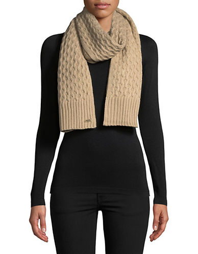 Calvin Klein Honeycomb Knit Scarf-ALMOND-One Size