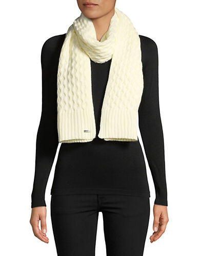 Calvin Klein Honeycomb Knit Scarf-CREAM-One Size