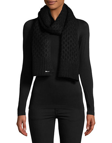 Calvin Klein Honeycomb Knit Scarf-BLACK-One Size