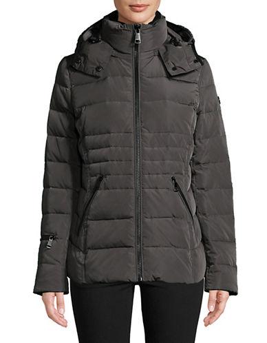 Calvin Klein Hooded Down Jacket-TITANIUM-Small