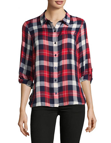 Tommy Hilfiger Plaid Button-Down Shirt-RED-Small