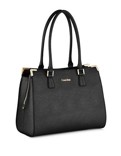 Calvin Klein Saffiano Leather Satchel-BLACK-One Size