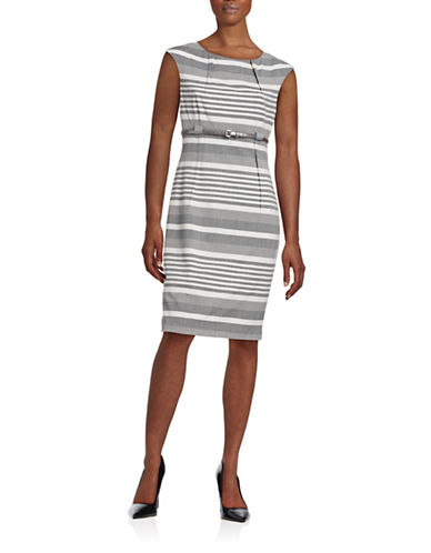 Calvin Klein Mix Striped Sheath Dress-GREY-4