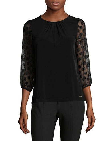 Calvin Klein Polka Dot Peasant Blouse-BLACK-Medium
