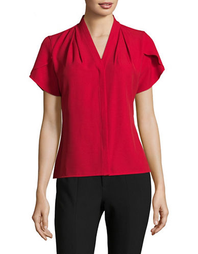 Calvin Klein Short Sleeve Blouse-RED-X-Large