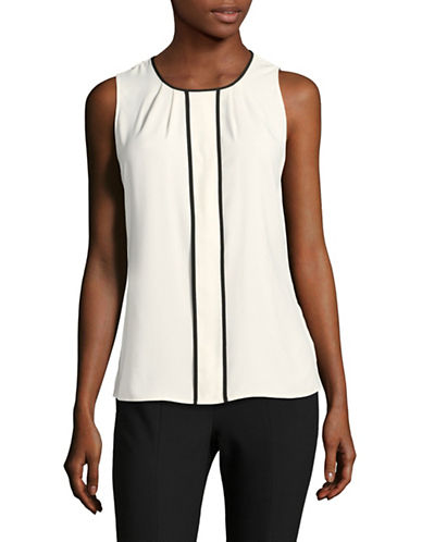 Calvin Klein Pleated Tank Top-CREAM/BLACK-Medium