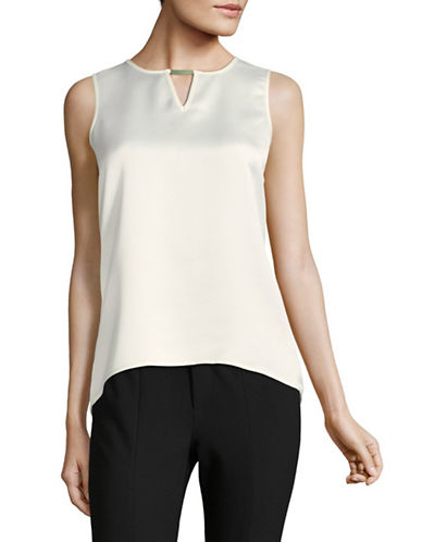 Calvin Klein Hi-Lo Keyhole Blouse-WHITE-Medium