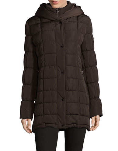 Calvin Klein Classic Hooded Quilt Coat-ESPRESSO-Small