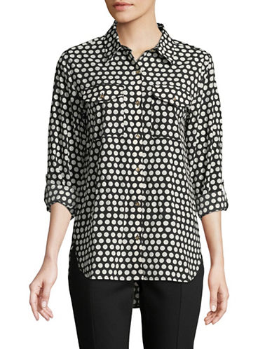Tommy Hilfiger Polka Dot-Print Button Down Shirt-BLACK-X-Small