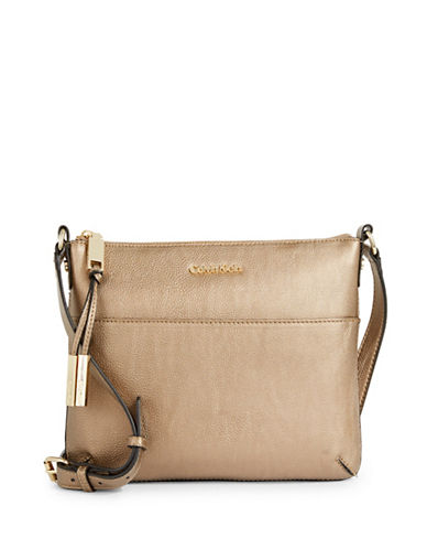 Calvin Klein Textured Faux Leather Crossbody Bag-BROWN-One Size