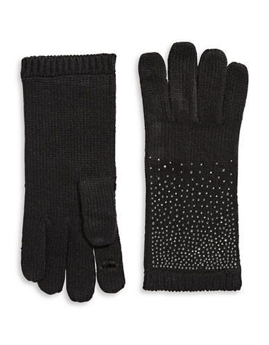 Calvin Klein Crystal-Studded Gloves-BLACK-One Size