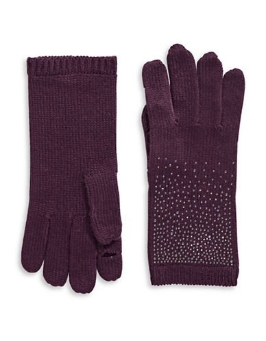 Calvin Klein Crystal-Studded Gloves-AUBERGINE-One Size