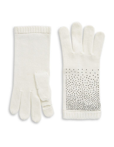 Calvin Klein Crystal-Studded Gloves-CREAM-One Size