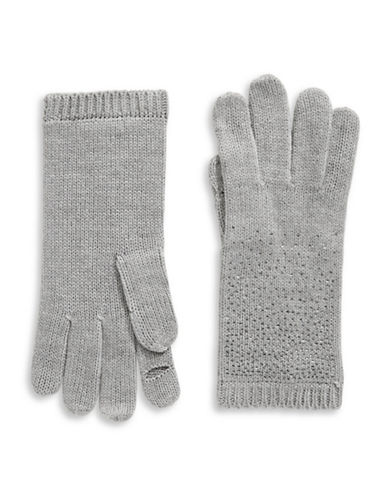 Calvin Klein Crystal-Studded Gloves-GREY-One Size