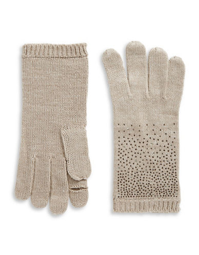 Calvin Klein Crystal-Studded Gloves-ALMOND-One Size