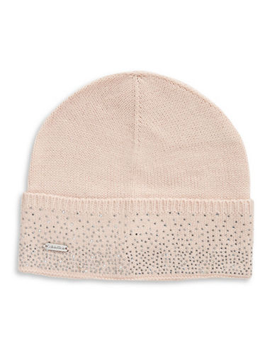 Calvin Klein Crystal-Studded Tuque-BLUSH-One Size