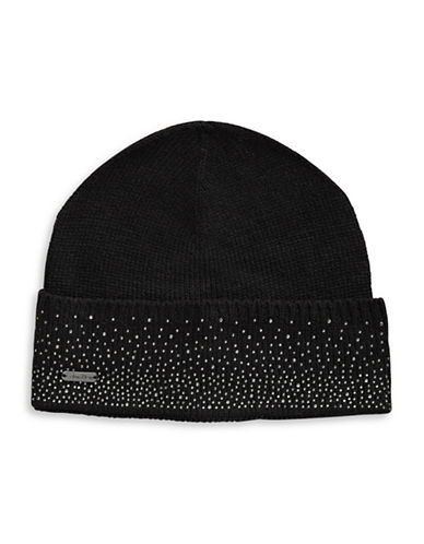 Calvin Klein Crystal-Studded Tuque-BLACK-One Size