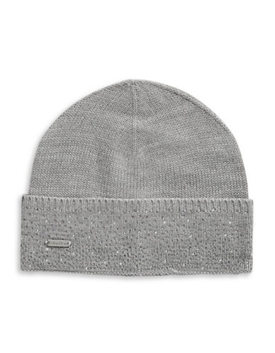 Calvin Klein Crystal-Studded Tuque-GREY-One Size
