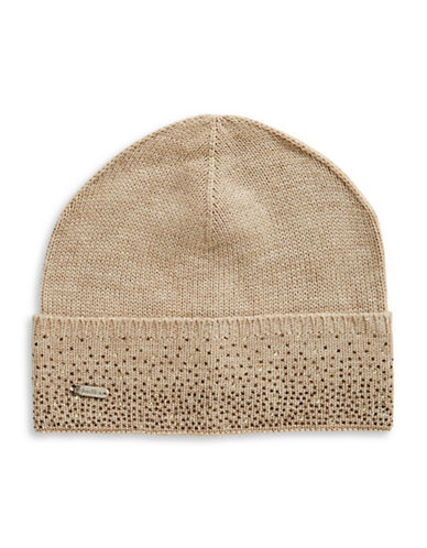 Calvin Klein Crystal-Studded Tuque-ALMOND-One Size