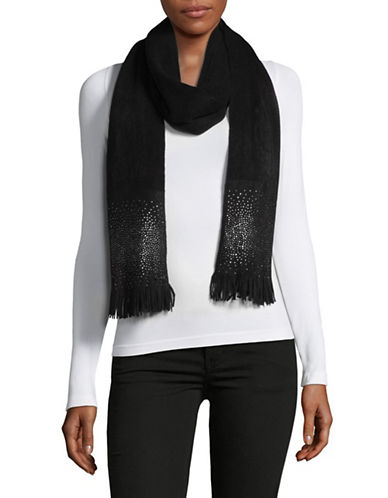 Calvin Klein Crystal Stud Scarf-BLACK-One Size