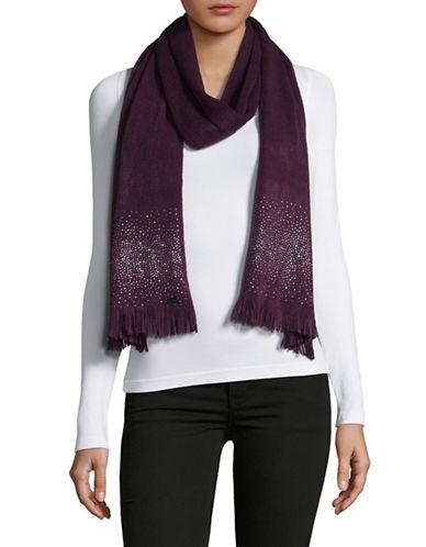 Calvin Klein Crystal Stud Scarf-AUBERGINE-One Size