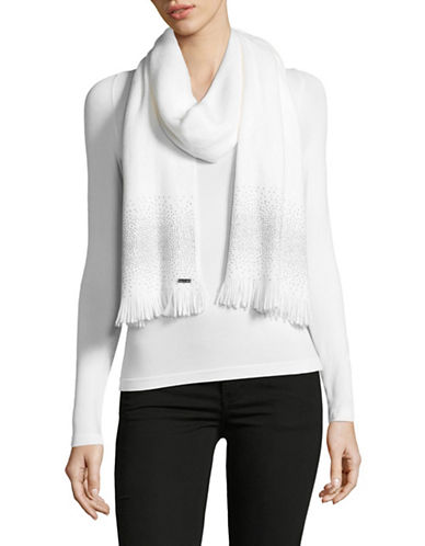 Calvin Klein Embellished Scarf-CREAM-One Size