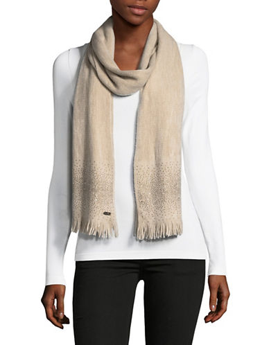 Calvin Klein Embellished Scarf-ALMOND-One Size