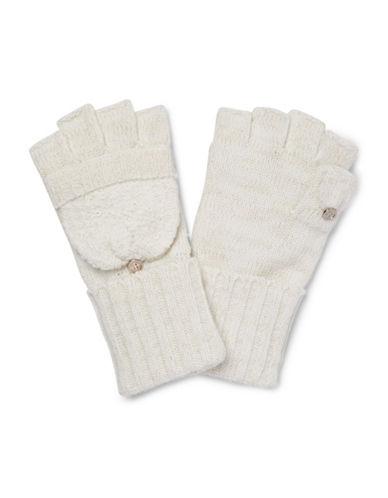 Calvin Klein Lurex Texture Flip Top Gloves-CREAM-One Size