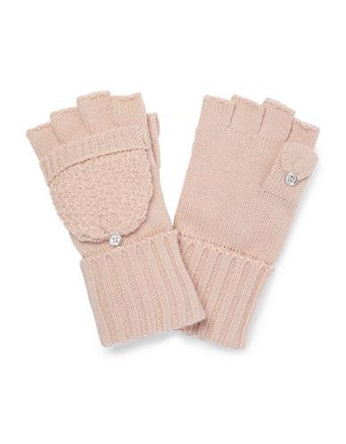 Calvin Klein Lurex Texture Flip Top Gloves-BLUSH-One Size