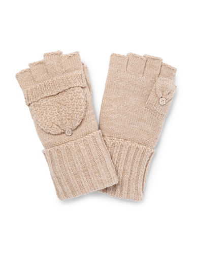Calvin Klein Lurex Texture Flip Top Gloves-ALMOND-One Size