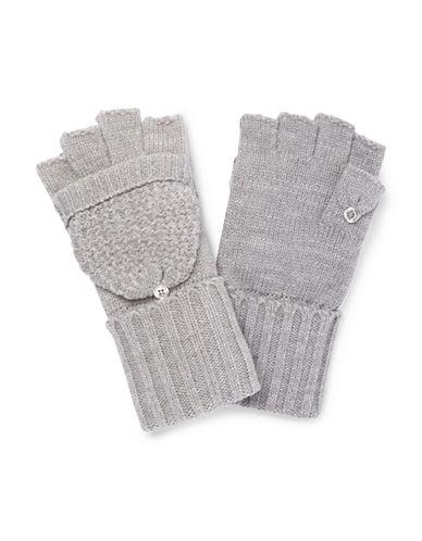 Calvin Klein Lurex Texture Flip Top Gloves-GREY-One Size