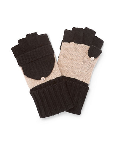 Calvin Klein Colourblock Flip Top Gloves-ALMOND-One Size