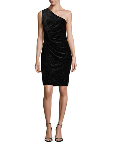 Calvin Klein Sparkle Velvet One-Shoulder Dress-BLACK-6