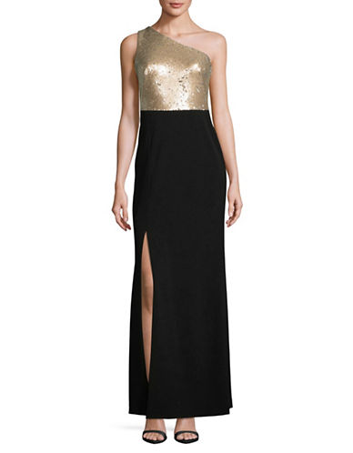 Calvin Klein Sequin One-Shoulder Gown-BEIGE/BLACK-10