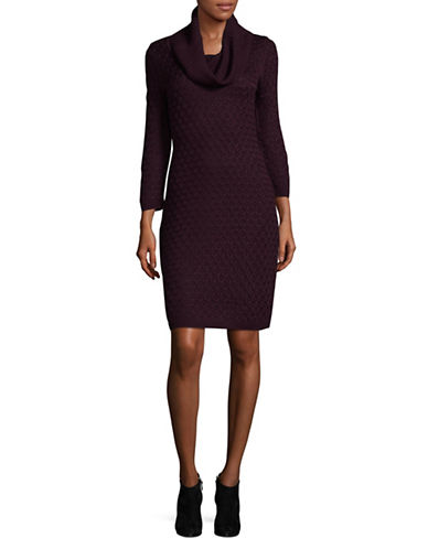 Calvin Klein Knit Turtleneck Sweater Dress-PURPLE-Large