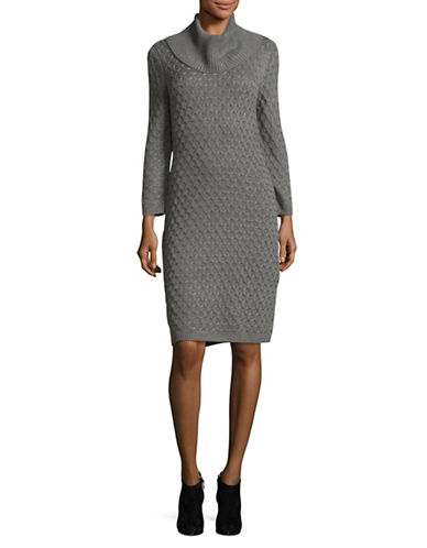 Calvin Klein Knit Turtleneck Sweater Dress-GREY-Medium