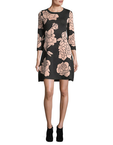 Calvin Klein Large Floral Print Sweater Dress-GREY/PINK-Small