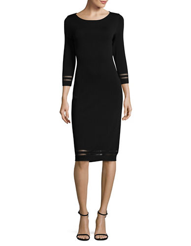 Calvin Klein Illusion Mesh Sweater Dress-BLACK-Medium