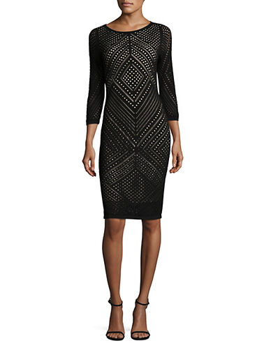 Calvin Klein Diamond Lace Sheath Dress-BLACK-Large